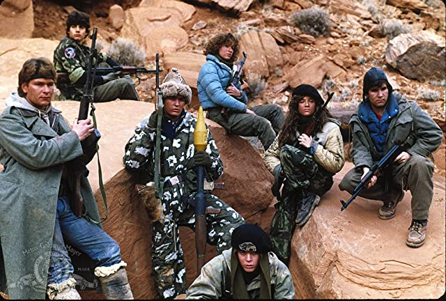 Charlie Sheen, Jennifer Grey, Patrick Swayze, Lea Thompson, C. Thomas Howell, Brad Savage, and Doug Toby in Red Dawn (1984)
