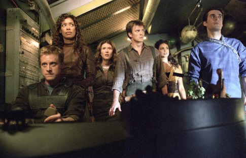 Nathan Fillion, Sean Maher, Jewel Staite, Gina Torres, Alan Tudyk, and Morena Baccarin in Serenity (2005)