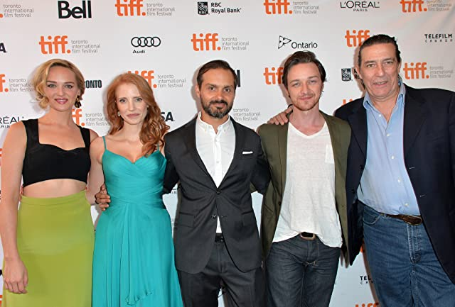 Ciarán Hinds, Ned Benson, James McAvoy, Jess Weixler, and Jessica Chastain at an event for The Disappearance of Eleanor Rigby: Him (2013)