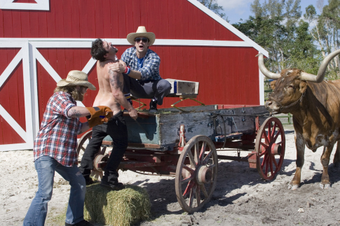 Ryan Dunn, Johnny Knoxville, and Bam Margera in Jackass Number Two (2006)