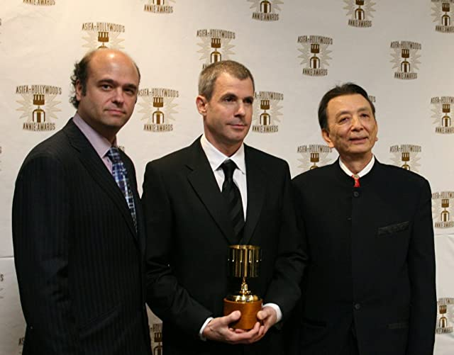 Scott Adsit (l) and James Hong (r) with feature character design winner Carter Goodrich