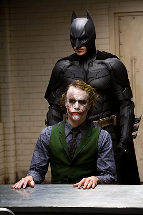 Christian Bale and Heath Ledger in The Dark Knight (2008)