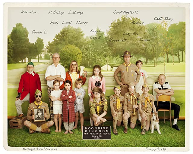 Bill Murray, Bruce Willis, Frances McDormand, Bob Balaban, Edward Norton, Jason Schwartzman, Tilda Swinton, Seamus Davey-Fitzpatrick, Lucas Hedges, Gabriel Rush, Jake Ryan, Tanner Flood, Charlie Kilgore, Jared Gilman, Kara Hayward, and Wyatt Ralff in Moonrise Kingdom (2012)