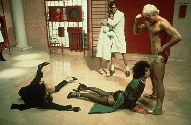 Susan Sarandon, Tim Curry, Barry Bostwick, Peter Hinwood, and Richard O'Brien in The Rocky Horror Picture Show (1975)