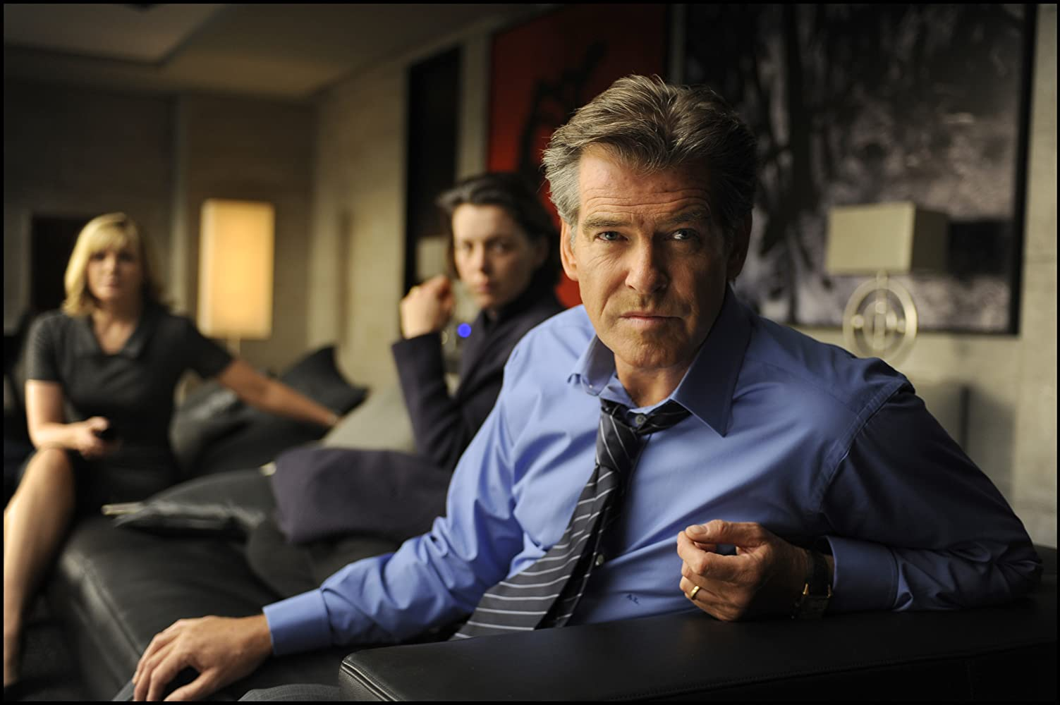 Pierce Brosnan, Kim Cattrall, and Olivia Williams in The Ghost Writer (2010)