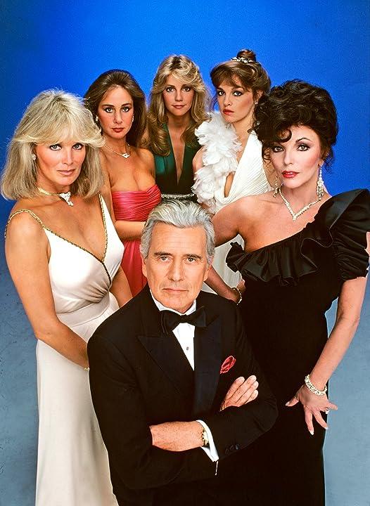 Heather Locklear, Pamela Bellwood, Joan Collins, John Forsythe, Linda Evans, and Pamela Sue Martin in Dynasty (1981)