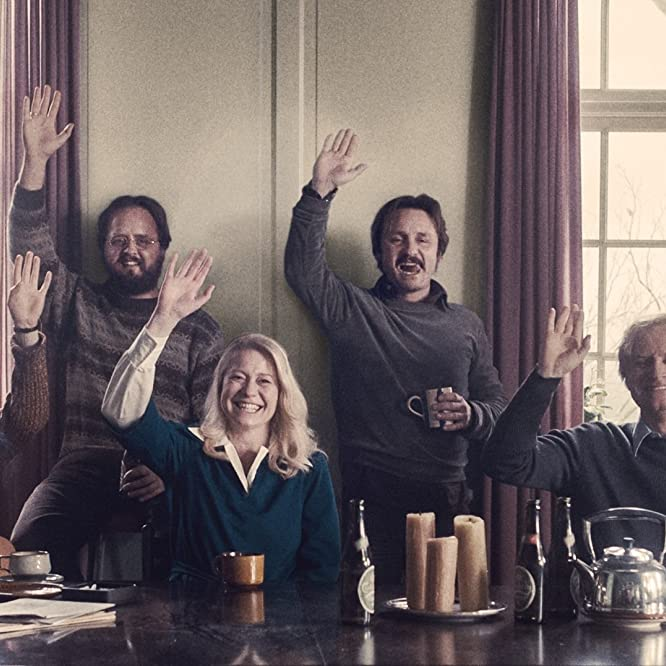 Trine Dyrholm, Ulrich Thomsen, Lars Ranthe, Magnus Millang, Martha Sofie Wallstrøm Hansen, Anne Gry Henningsen, and Sebastian Grønnegaard Milbrat in The Commune (2016)