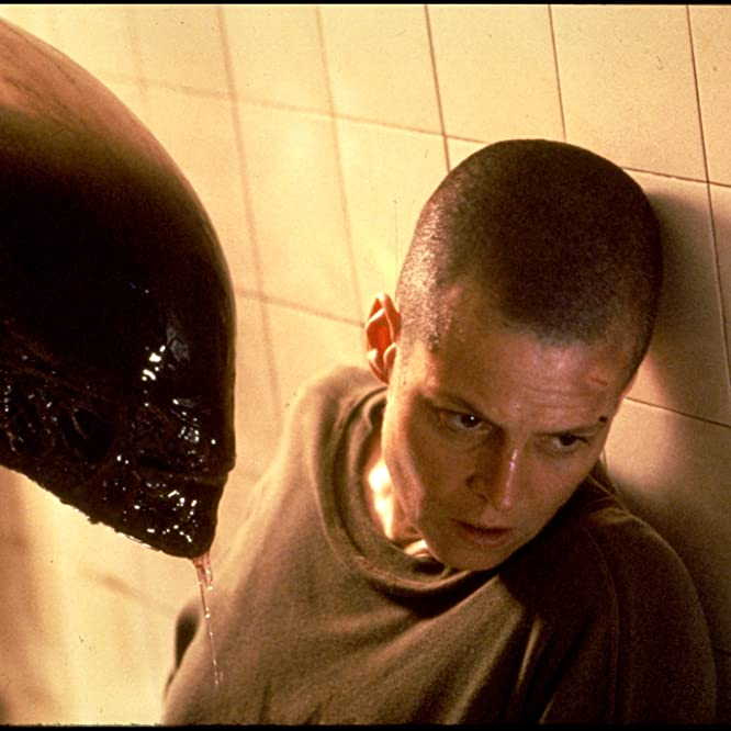 Sigourney Weaver and Tom Woodruff Jr. in Alien 3 (1992)