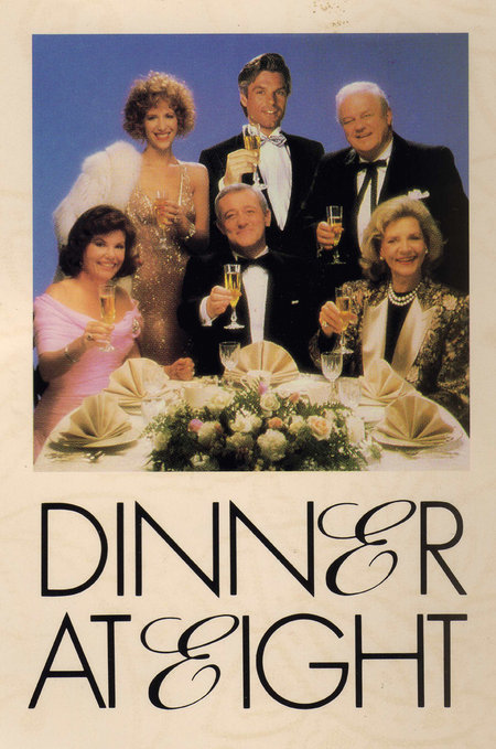 From the left (seated) Marsha Mason, John Mahoney, Lauren Bacall, (standing) Ellen Greene, Harry Hamlin and Charles Durning invite you to Dinner at Eight. don't be late!