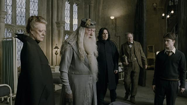 Alan Rickman, Jim Broadbent, Maggie Smith, Michael Gambon, and Daniel Radcliffe in Harry Potter and the Half-Blood Prince (2009)