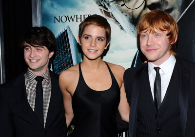 Rupert Grint, Daniel Radcliffe, and Emma Watson at Harry Potter and the Deathly Hallows: Part 1 (2010)