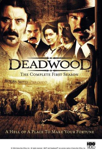 Brad Dourif, Powers Boothe, Ian McShane, Timothy Olyphant, and Molly Parker in Deadwood (2004)