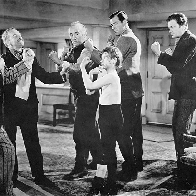 Roddy McDowall, Donald Crisp, Barry Fitzgerald, Patric Knowles, John Loder, and Rhys Williams in How Green Was My Valley (1941)