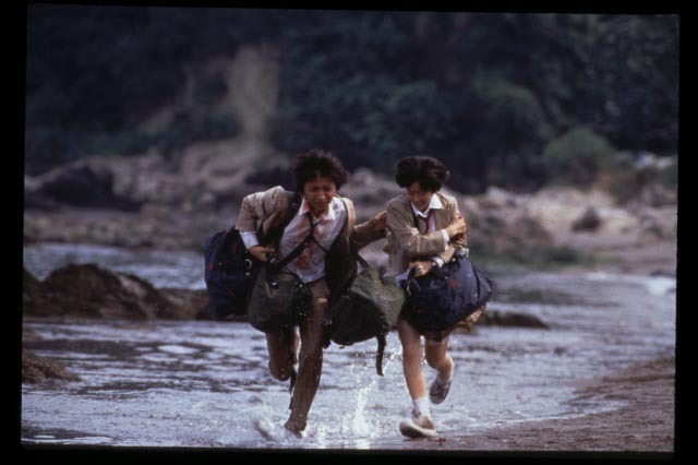 Tatsuya Fujiwara and Aki Maeda in Battle Royale (2000)