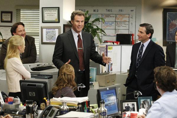 Will Ferrell, Steve Carell, Jenna Fischer, John Krasinski, Angela Kinsey, and Brian Baumgartner in The Office (2005)