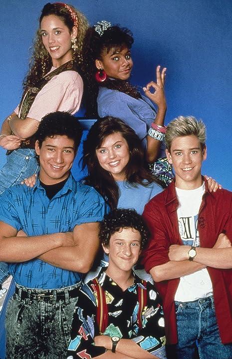 Elizabeth Berkley, Mark-Paul Gosselaar, Tiffani Thiessen, Dustin Diamond, Mario Lopez, and Lark Voorhies in Saved by the Bell (1989)