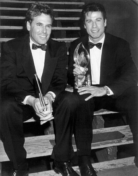 Krane with actor John Travolta backstage after accepting the People's Choice Award for best comedy for