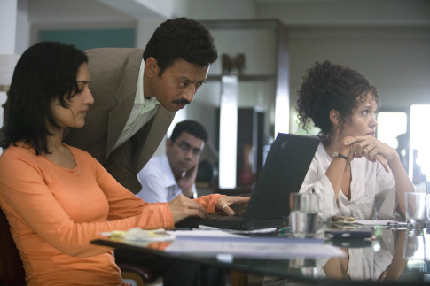 Angelina Jolie, Irrfan Khan, and Archie Panjabi in A Mighty Heart (2007)