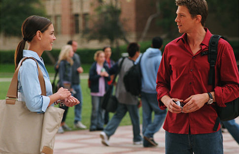 Samantha (Katie Holmes) finds love on campus with James (Marc Blucas), her dormitory Resident Advisor.