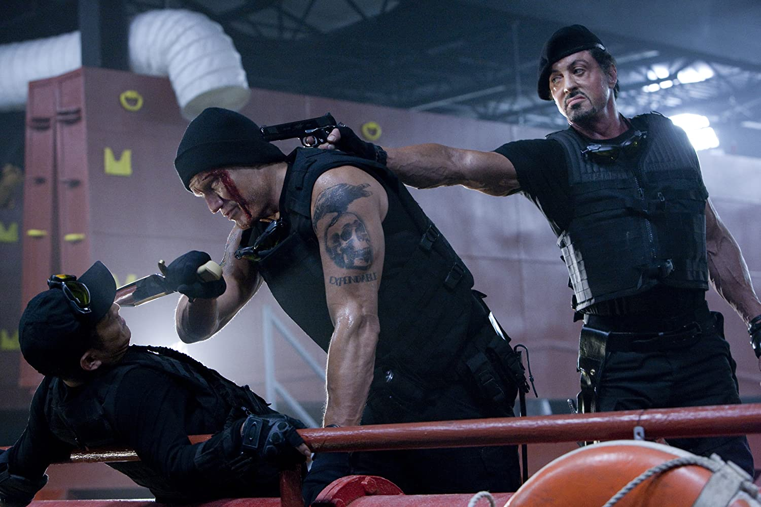 Dolph Lundgren, Sylvester Stallone, and Jet Li in The Expendables (2010)