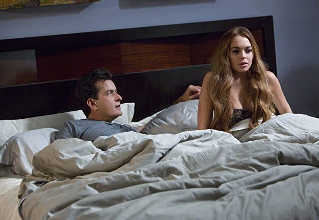 Charlie Sheen and Lindsay Lohan in Scary Movie 5 (2013)