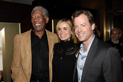 Morgan Freeman, Greg Kinnear, and Radha Mitchell at an event for Feast of Love (2007)
