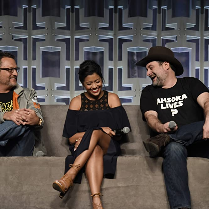 Steve Blum, Dave Filoni, and Tiya Sircar at an event for Star Wars: Rebels (2014)