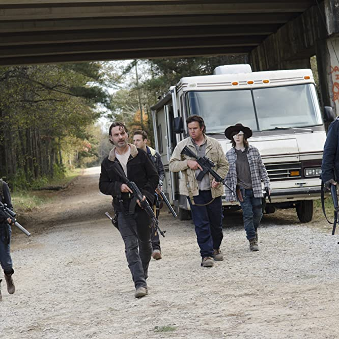 Michael Cudlitz, Andrew Lincoln, Ross Marquand, Sonequa Martin-Green, Josh McDermitt, and Chandler Riggs in The Walking Dead (2010)