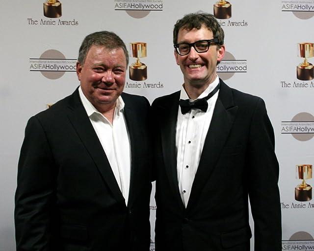Previous host Tom Kenny congratulates William Shatner on his hosting job