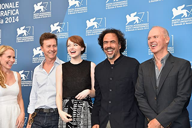 Michael Keaton, Edward Norton, Alejandro G. Iñárritu, Amy Ryan and Emma Stone at event of Birdman or (The Unexpected Virtue of Ignorance)