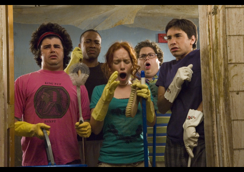 Justin Long, Maria Thayer, Columbus Short, Jonah Hill, and Adam Herschman in Accepted (2006)