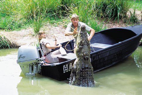Steve Irwin and Terri Irwin in The Crocodile Hunter: Collision Course (2002)