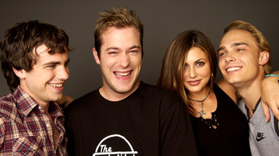 James DeBello, Joey Kern, Rider Strong, and Cerina Vincent at an event for Cabin Fever (2002)