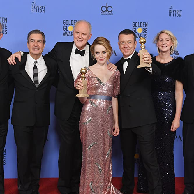 John Lithgow, Stephen Daldry, Peter Morgan, Philip Martin, and Claire Foy at an event for The 74th Golden Globe Awards (2017)