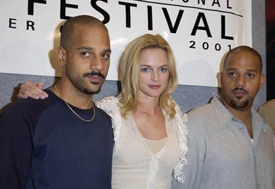 Heather Graham, Albert Hughes, and Allen Hughes at an event for From Hell (2001)
