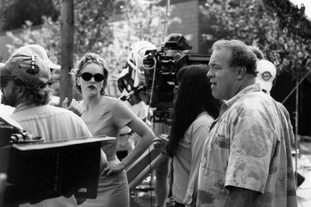 With Sharon Stone on the set of