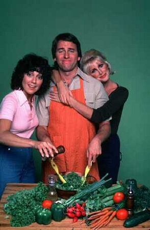 John Ritter, Suzanne Somers, and Joyce DeWitt in Three's Company (1976)
