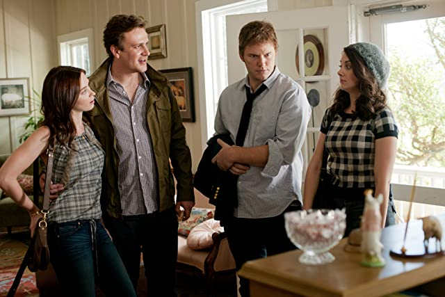 Chris Pratt, Jason Segel, Emily Blunt, and Alison Brie in The Five-Year Engagement (2012)