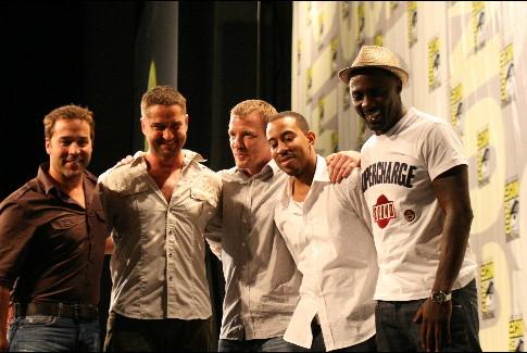 Jeremy Piven, Guy Ritchie, Gerard Butler, Idris Elba, and Ludacris at RocknRolla (2008)