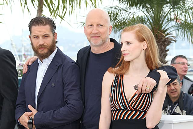 Tom Hardy, John Hillcoat, and Jessica Chastain at Lawless (2012)