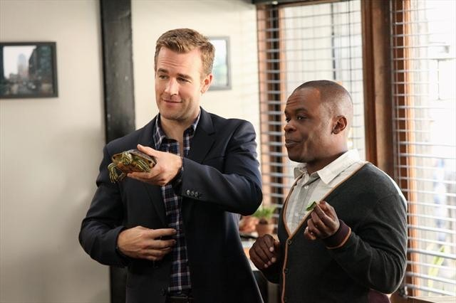 James Van Der Beek and Ray Ford in Don't Trust the B---- in Apartment 23 (2012)
