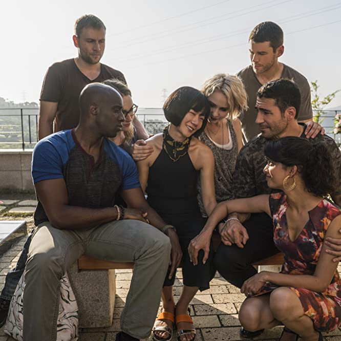 Doona Bae, Max Riemelt, Brian J. Smith, Miguel Ángel Silvestre, Tuppence Middleton, Tina Desai, Jamie Clayton, and Toby Onwumere in Sense8 (2015)