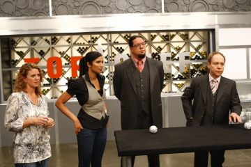 Penn Jillette, Padma Lakshmi, Teller, and Michelle Bernstein in Top Chef (2006)