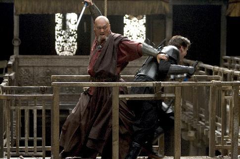 Christian Bale and Ken Watanabe in Batman Begins (2005)