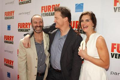 Brooke Shields, Brendan Fraser, and Roger Kumble at Furry Vengeance (2010)