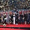 Don Cheadle, Robert Downey Jr., Gwyneth Paltrow, Ben Kingsley, James Badge Dale, Jon Favreau, Stephanie Szostak, and Ty Simpkins at Iron Man 3 (2013)