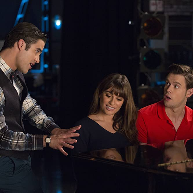 Lea Michele, Darren Criss, and Chord Overstreet in Glee (2009)