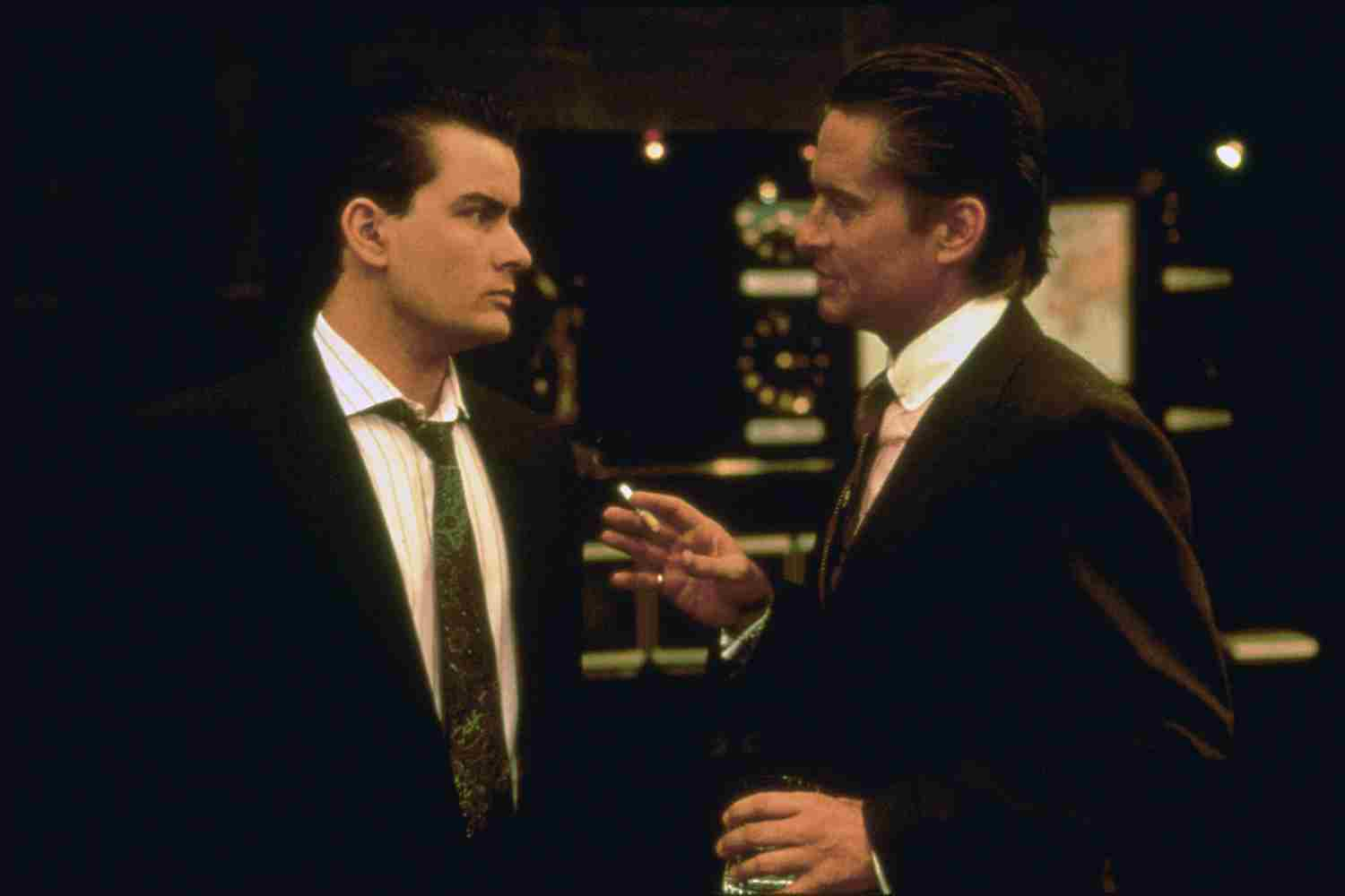 Michael Douglas and Charlie Sheen in Wall Street (1987)