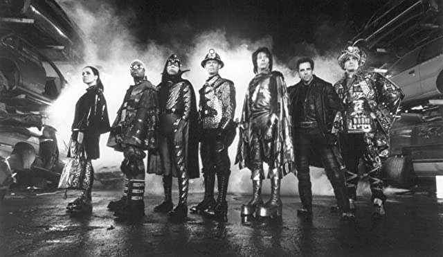 Hank Azaria, Janeane Garofalo, William H. Macy, Paul Reubens, Ben Stiller, Kel Mitchell, and Wes Studi in Mystery Men (1999)