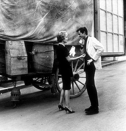 Anthony Perkins and Janet Leigh on the set of